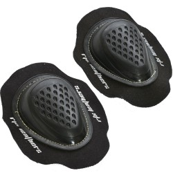 Black Motorcycle Leathers Trouser Pant Knee Sliders - Hard TPU Mould Velco Backed