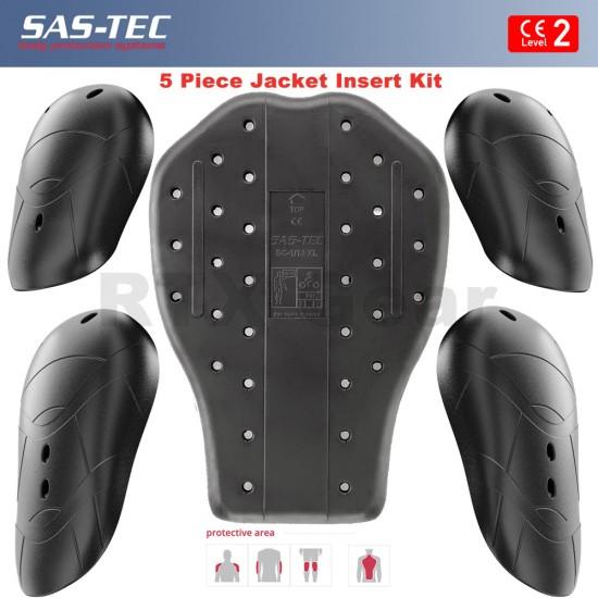 SAS-TEC German Engineered CE Level 2 Motorcycle Armour Biker JACKET Protection - Set of 5 Inserts