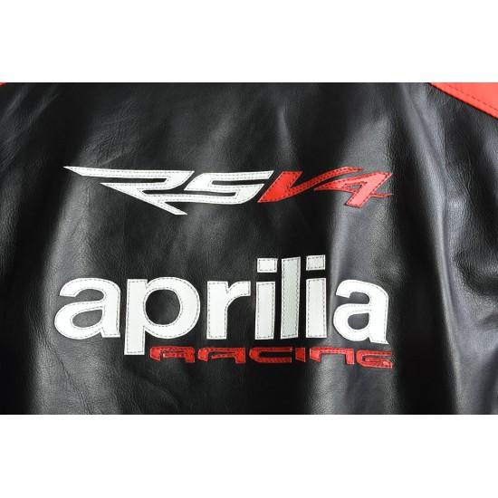 Aprilia Max RSV4 Leather Motorcycle Biker Jacket