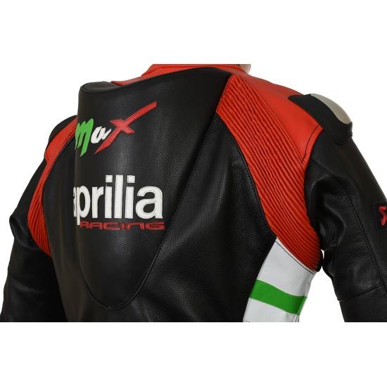 Aprilia Max Leather Motorcycle Biker Jacket