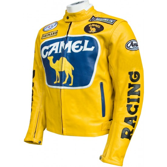 Camel Racing Yellow Blue Leather Motorcycle Jacket