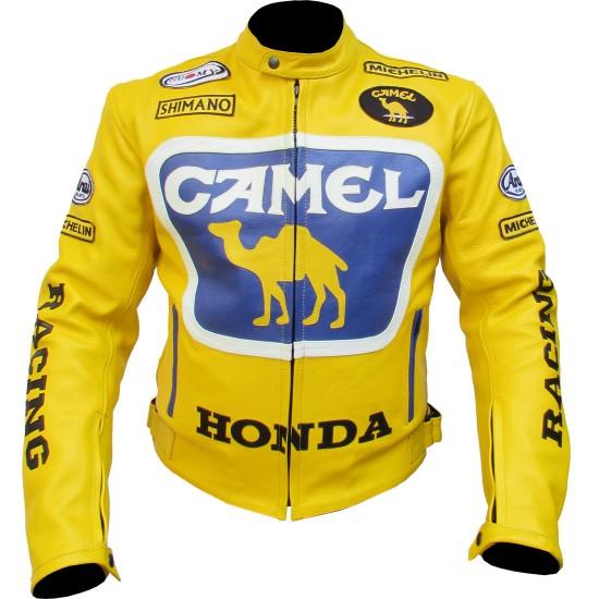 Camel Yellow Honda Racing Leather Jacket