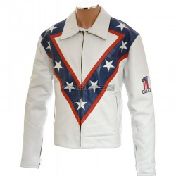 Evel Knievel Tribute White PU Faux Leather Jacket