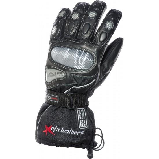 Hydro Kinetic Black Waterproof Leather Motorcycle Gloves