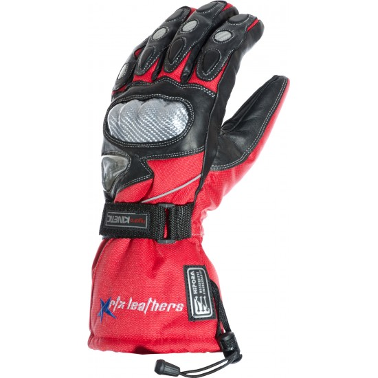Hydro Kinetic Red Thermal Leather Motorcycle Gloves