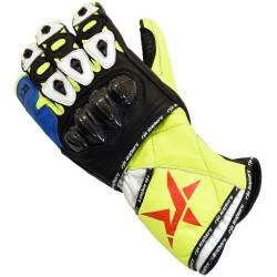 RTX Nexus 5 FLORO BLUE Track Pro Leather Motorcycle Gloves