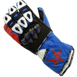 RTX Nexus 5 BLUE & RED Track Pro Leather Motorcycle Gloves