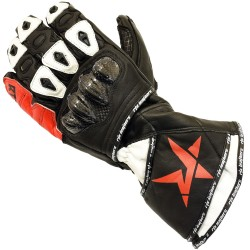 RTX Nexus 5 BLACK & RED Track Pro Leather Motorcycle Gloves