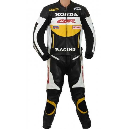 Honda CBR YELLOW Motorcycle Leather Two Piece Suit