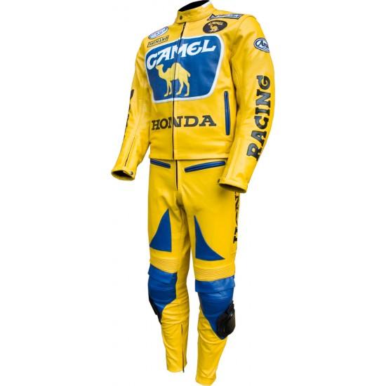 HONDA CAMEL Racing Yellow Biker Suit