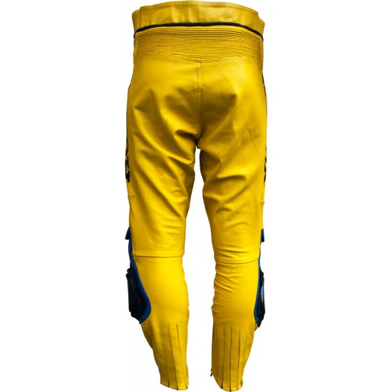 Camel Yellow Leather Motorcycle Trouser