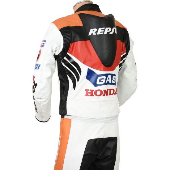 Classic Honda Repsol Gas Moto GP Leather Biker Suit