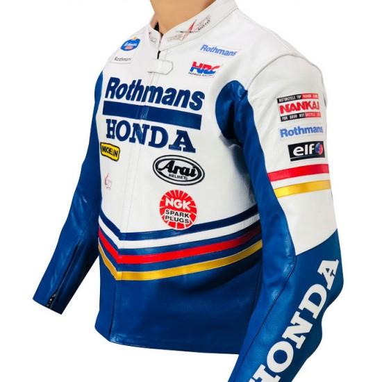 Honda Rothmans Racing Classic Supersport Replica Leather Biker Jacket