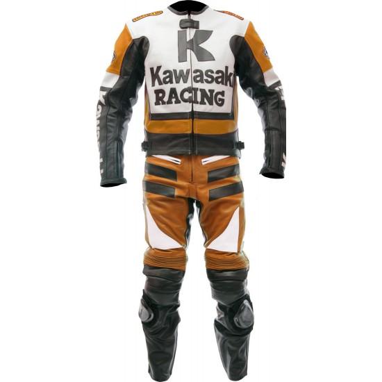 Kawasaki Ninja Orange Racing Leather Suit