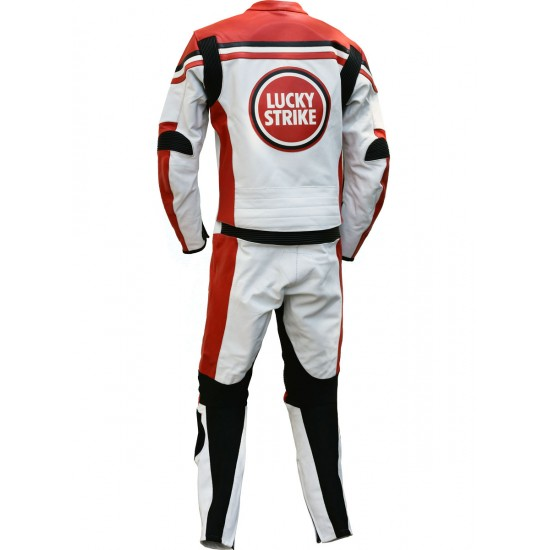 LUCKY STRIKE Red & White Team Suzuki Classic Replica leather Motorcycle Suit