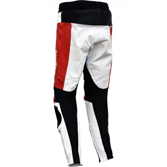 Lucky Strike Red & White Leather Motorcycle Biker Trousers