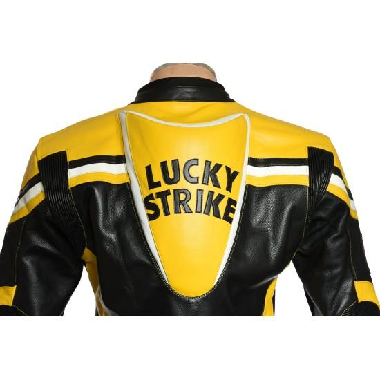 Lucky Strike Yellow Leather Motorcycle Jacket