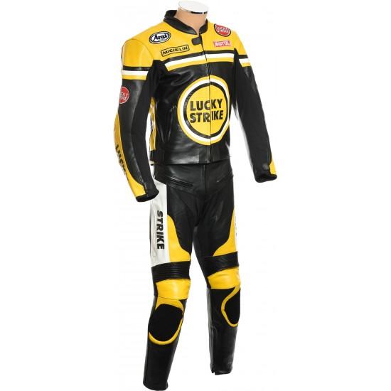 Lucky Strike Yellow Biker Leathers