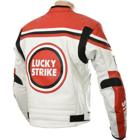 Lucky Strike Red & White Leather Biker Jacket