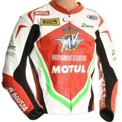 MV Agusta Italia GP Edition Leather Motorcycle Biker Jacket