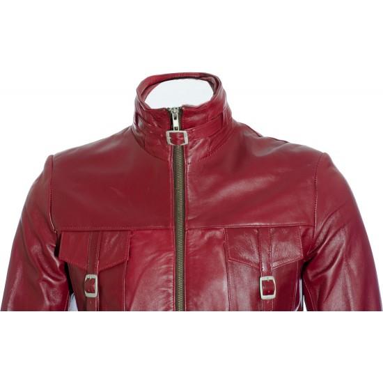 SALE - Ladies Burgundy Soft Leather Mid Length Coat; Size: M