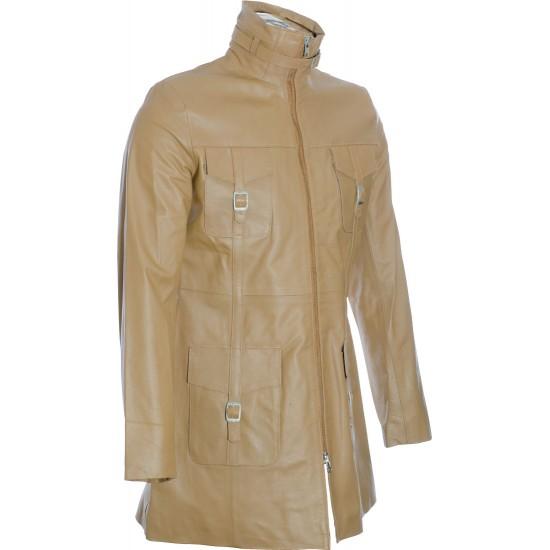 SALE - Ladies Beige Soft Leather Mid Length Coat; Sale: L