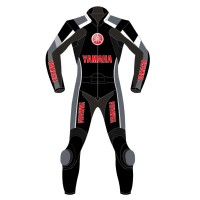 Yamaha Super Sport Black & Red Motorbike Leather Suit