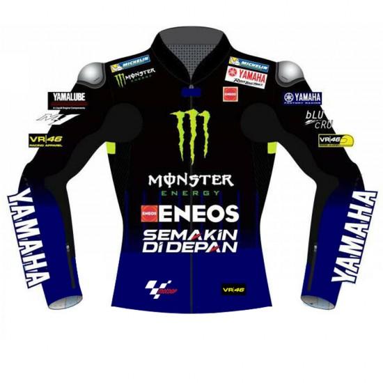 VR46 Yamaha Monster Energy MotoGP Replica Leather Biker Jacket