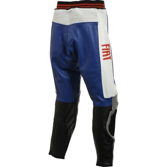 Fiat Yamaha Blue Leather Motorcycle Trouser