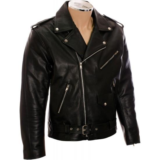 All American Mod Biker Classic Black Leather Jacket