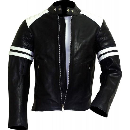 FIGHT CLUB Black & White Leather Biker Jacket