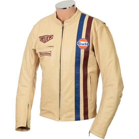 Steve McQueen Cream Gulf Armoured Biker Jacket