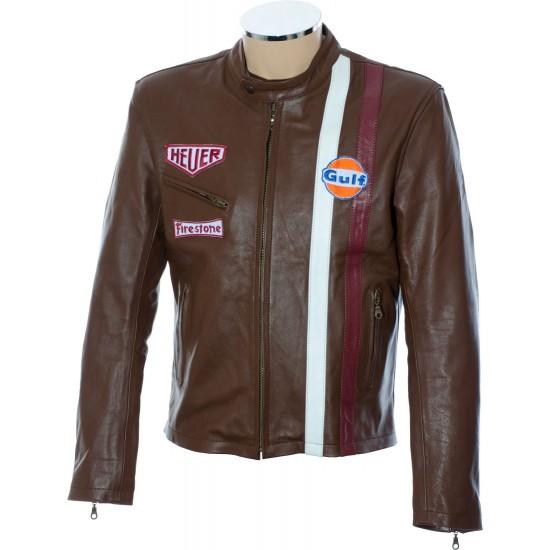 Steve McQueen Brown Le-Man GULF Leather Jacket