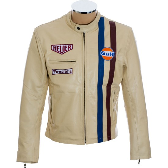 Steve McQueen Cream Le-Man Leather Jacket