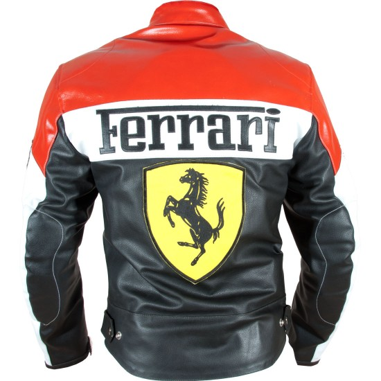 Ferrari Racing Replica CE Leather Biker Jacket