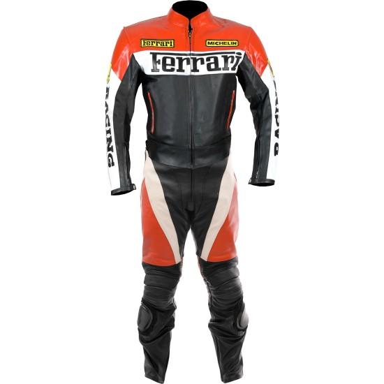 Custom Made FERRARI Leather Motorcycle Suit