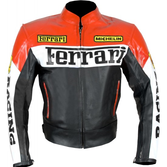 Custom Built FERRARI Leather Motorbike Jacket