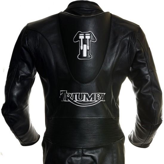 SALE - Triumph Racing Black One Piece Biker Leathers - MEDIUM